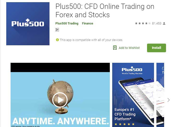 Plus 500 Stock market app for android