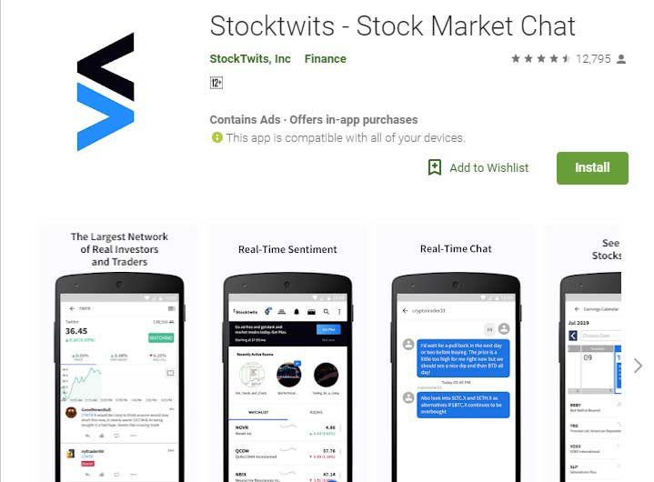 Stocktwist stockmarket app for iphone and android