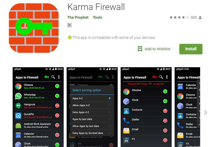 Karma Firewall App for android