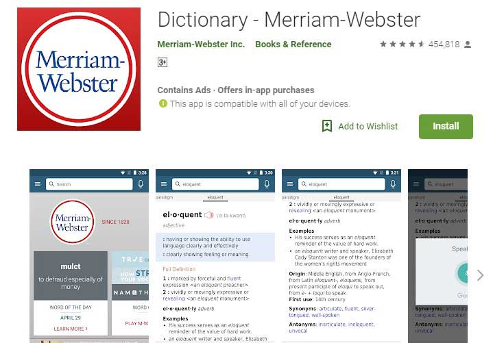 Merriam webster dictionary app for android