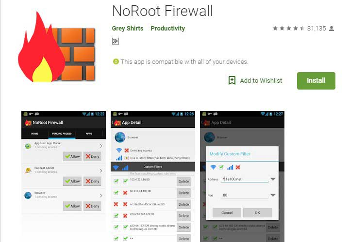 Noroot Firewall Android app