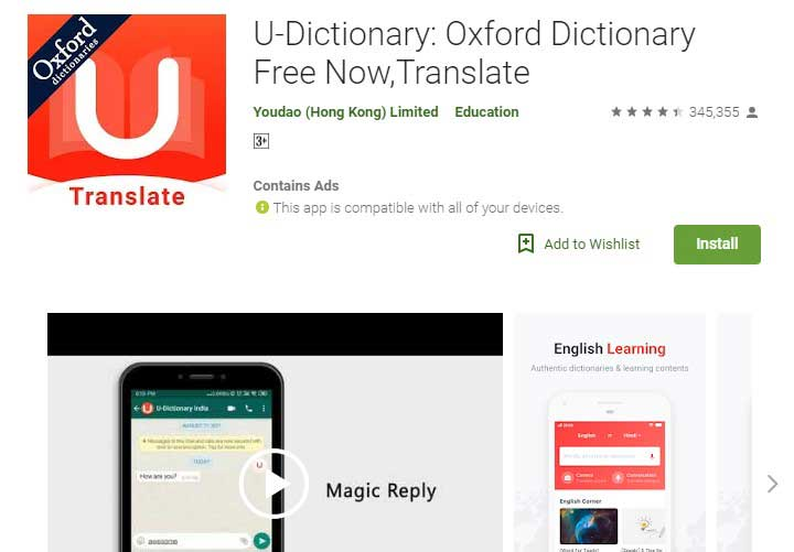 U-dictionary app for android