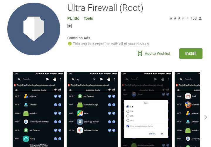 ultra Firewall App for android