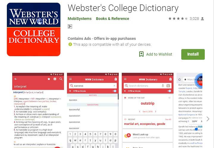 Webster College dictionary app for android